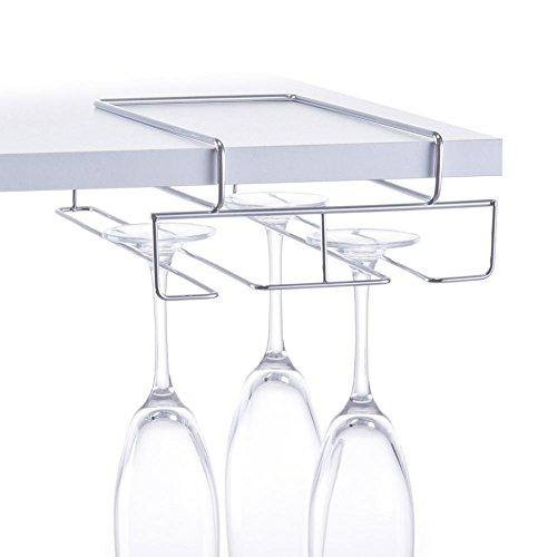 Gläserhalter - 18,5 x 28 x 7,5 cm - Regaleinhänger für Gläser - Glasaufhänger aus Metall verchromt