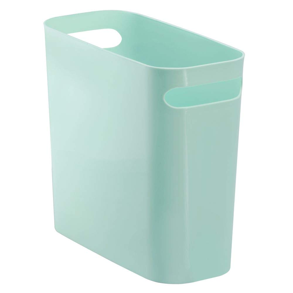 "mDesign Slim Plastic Rectangular Small Trash Can Wastebasket, Garbage Container Bin with Handles for Bathroom, Kitchen, Home Office, Dorm, Kids Room - 10"" High, Shatter-Resistant - Mint Green"