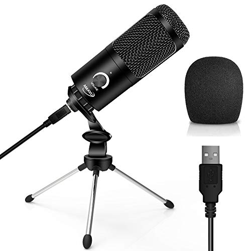 USB Microphone,MAXKU Condenser Microphone Computer Recording with Tripod Stand for YouTube, Gaming, Streaming, Podcasting,Skype, Twitch,Compatible with Laptop Desktop Windows PC & Mac