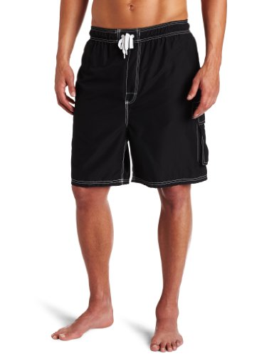 Kanu Surf Men's Barracuda Swim Trunks (Regular & Extended Sizes), Black, 3X