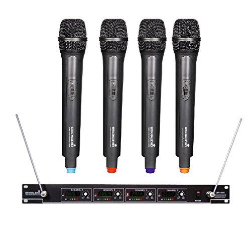 STARAUDIO SMV-4000A Pro VHF Wireless 4 Channel Handheld Stage Church PA DJ Microphone System