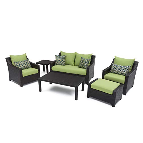RST Brands Deco 6 Piece Love and Club Deep Seating Set with Cushions, Ginkgo Green