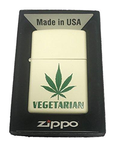 (Zippo Custom Lighter -Vegetarian Weed Pot Leaf Marijuana Plant Design)