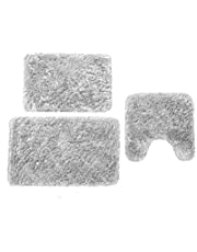 Nova Home Collection Non-Slip Safety Ultra Water Absorbent Soft Solid 3 Pieces Plush Bathroom Bath Rug Floor Mat Set