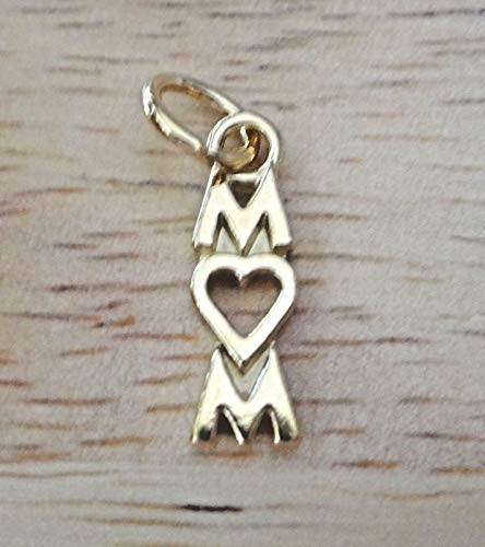 Fine Charms 14 Kt Gold Vermeil Over Sterling Silver 17x6mm says Mom with ()