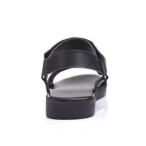 AllhqFashion Mujeres Puntera Abierta Mini Tacón Sintético Sólido Velcro Sandalia Negro