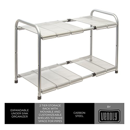 Storage Sink (Expandable Under Sink Organizer - 2 Tier Storage Rack With Movable and Customizeable Shelves to Make Space for Pipes - Carbon Steel - By Venoly)