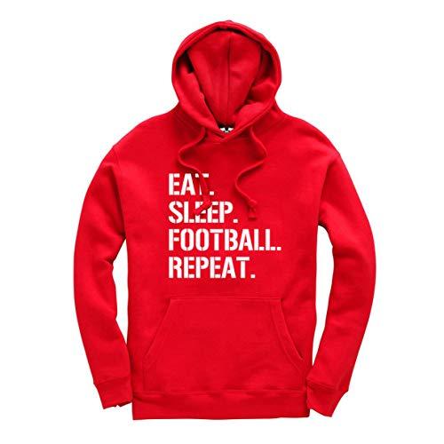 Eat Sleep Football Repeat – Sudadera con capucha unisex para niños y adultos