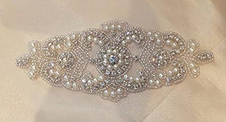 Shinybeauty strass applique per abiti da sposa strass applique