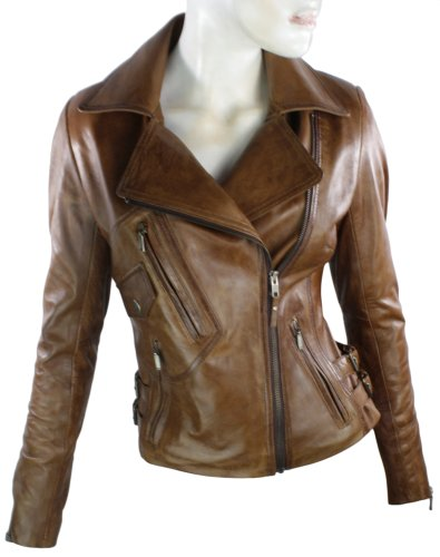 Ladies Real Leather Jacket Short Fitted Bikers Style Vintage Tan ...