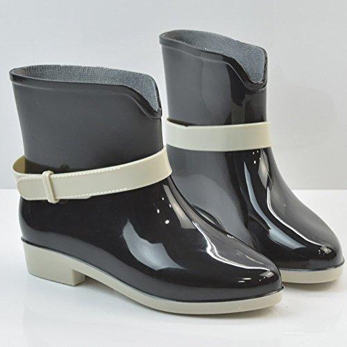 Qzunique Femmes Imperméable À Leau En Caoutchouc Gelée Anti-dérapant Botte De Pluie Boucle Cheville Haute Chaussures De Pluie Noir