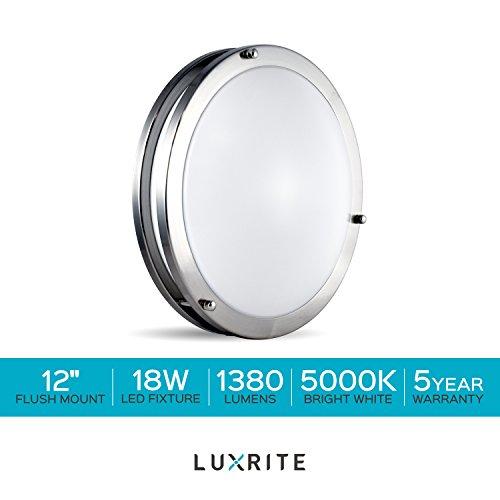 Luxrite LED Flush Mount Ceiling Light, 12 Inch, Dimmable, 5000K Bright White, 1380 Lumens, 18W Ceiling Light Fixture, Energy Star & ETL - Perfect for Kitchen, Bathroom, Entryway, and Closet by Luxrite (Image #7)