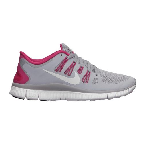 Nike Free 5.0+ Womens Running Shoes 580591-061 Wolf Grey/Pink Force-White (5.5)