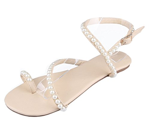 TDA Women's Simple Winding Comfort Strip Winding Simple Beaded Buckle Sheepskin Dress Flats B01H5LLGRC Shoes b38967