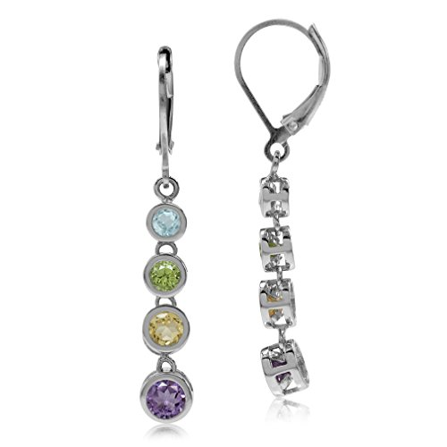 e Amethyst 925 Sterling Silver Elongated Journey Dangle Leverback Earrings ()
