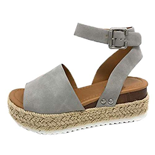 Womens Casual Espadrilles Sandal Trim Rubber Sole Flatform Studded Wedge Buckle Open Toe Ankle Strap Sandals (US:8.5, Gray)