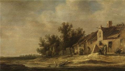 Perfect Effect Canvas ,the Reproductions Art Decorative Prints On Canvas Of Oil Painting 'Toegeschreven Aan Jan Josefsz Van Goyen,Landscape,1596-1656', 12x21 Inch / 30x54 Cm Is Best For Hallway Decor And Home Decoration And Gifts