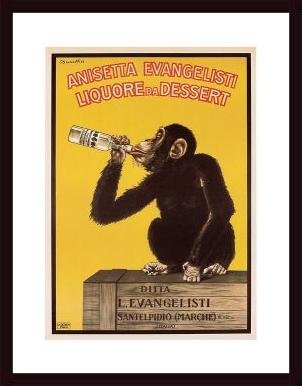 Anisetta Monkey, framed black wood, white matte