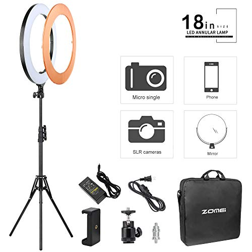 ZOMEI Camera Photo Video LED Ring Light Kit:18 inches 58W 5500K Dimmable LED Ring Light, Light Stand, Phone Clamp, Ball Head and Color Filter for Smartphone, YouTube Video Live, Portrait, Makeup