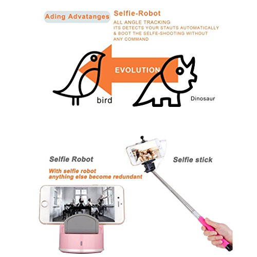 Clebsch Smart Selfie Robot for Mobile Phone IOS and Andro System with Bluetooth Connection to Take Photo Auto Tracking 360 Degree Rotate (Pink Gen2) by Clebsch (Image #4)