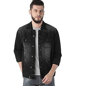 VROJASS Full Sleeve Solid Men Carbon Black Denim Jacket
