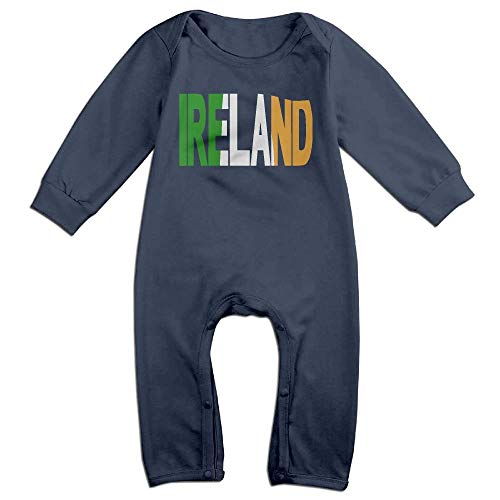 TYLER DEAN Baby Girl Coverall Ireland Text with Flag Baby Clothes Navy -