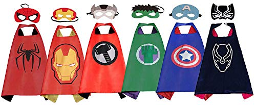 Superhero Capes for Kids, 6 Heroes Satin Capes and Masks for Dress Up Costumes for Boys -