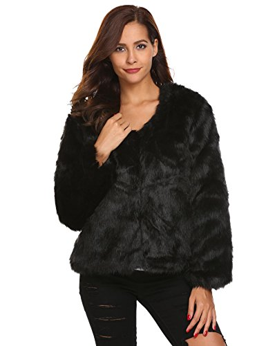 Sexy Halloween Costomes (Ouyilu Women's Long Sleeve Vintage Winter Warm Fluffy Faux Fur Coat Jacket Outwear)