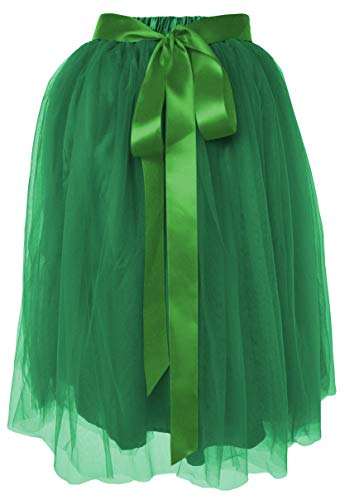 (Dancina Women's Knee Length Tutu A Line Layered Tulle Skirt Plus (Size 12-22) Dark Green)
