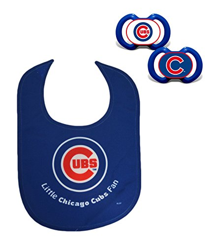 Official MLB Fan Shop Authentic Baby Pacifier and Bib Set. Start The Little Ones Out Early in Joining The Number One Major League Baseball Fans (Chicago Cubs) (Wincraft Jersey Hat)