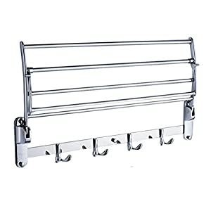 Candora Stainless Steel Wall Mounted Bathroom Towel Rack Brushed Towel Shelf Towel Holder Hotel Rail Shelf Storage Holder