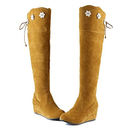 top Boots Women's Heels Suede Imitated Kitten High Solid Yellow WeenFashion Zipper dIqz8Cwqx
