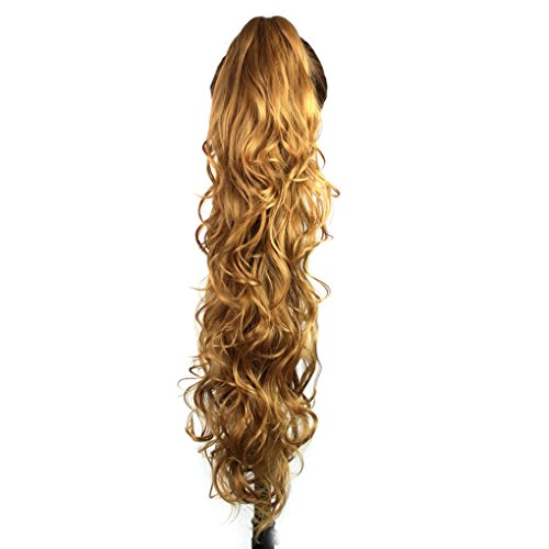 S-ssoy 31(78cm) Womens Curly Pony Tail Hair Piece Synthetic Claw Clip Ponytail Wavy Long Curled in Hair Extension Extensions Long/Voluminous Wig Hairpieces for Women Girls Lady,27B#
