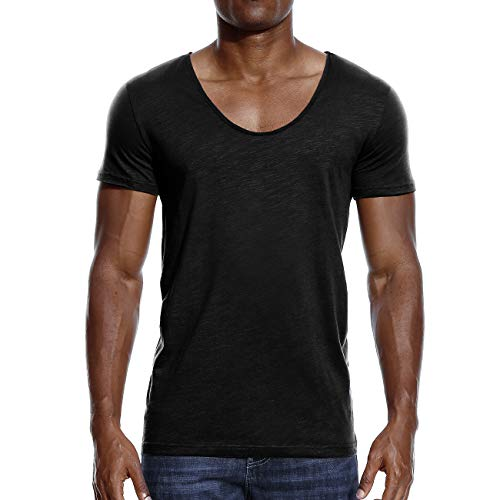 Mens Deep V Neck T Shirts Scoop Neck Slim Fit Basic Tee Casual Top Black XXL