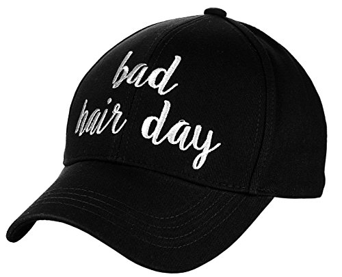 (C.C Women's Embroidered Quote Adjustable Cotton Baseball Cap, Bad Hair Day, Black )