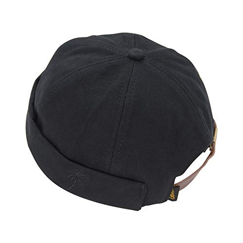 Youth Boy Girl Docker Beanie Hat Adjustable Leather Buckle Vintage Style Brimless Cuffed Cap ()