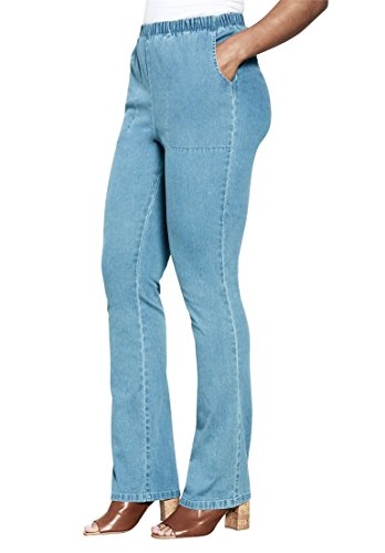 Roamans Women's Plus Size Tall Relaxed 2 Pocket Bootcut Stretch Legging Light