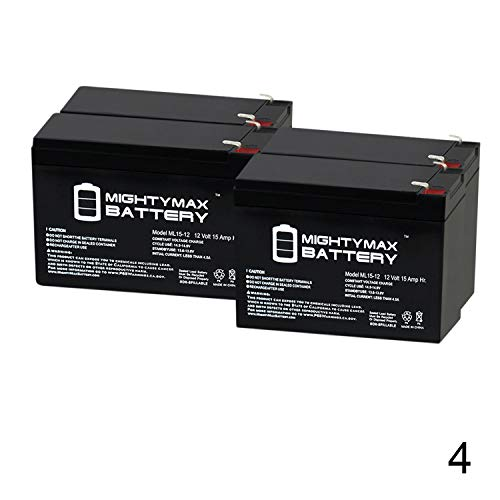Mighty Max Battery 12V 15AH F2 Battery Replacement for Peg Perego Vespa - 4 Pack Brand Product ()