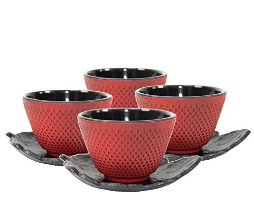 - 4 Black Leaf Teapot Saucers + 4 Red Polka Dot Hobnail Japanese Cast Iron Tea Cup Teacups ~ We Pay Your Sales Tax