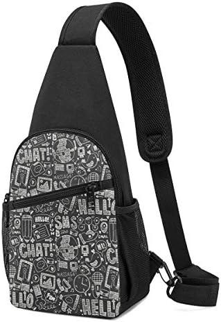 ボディ肩掛け 斜め掛け 黒いスケッチの落書き ショルダーバッグ ワンショルダーバッグ メンズ 軽量 大容量 多機能レジャーバックパック