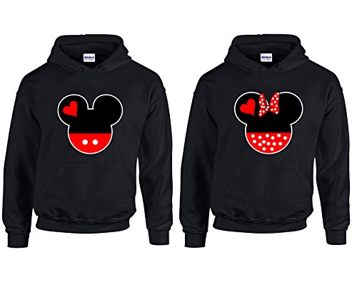 CAMALEN Minnie & Mickey Head Love Most Popular Hoodie Hooded Sweatshirt 1(Black-Black,Men-M/Women-M)