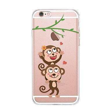 Case For IPhone 7 6 Cartoon Monkey TPU Soft Ultra-thin Back Cover Case Cover iPhone 7 PLUS 6 6s Plus SE 5s 5 5C 4S 4 ( Compatible Models : IPhone 6s Plus/6 Plus )
