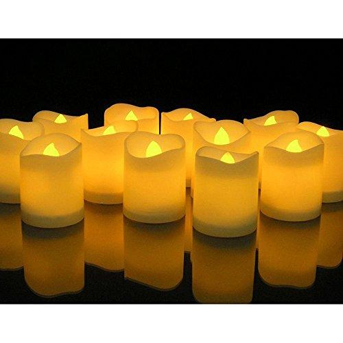 Novelty Place [Longest Lasting] Battery Operated Flickering Flameless LED Votive Candles (Pack of 12)