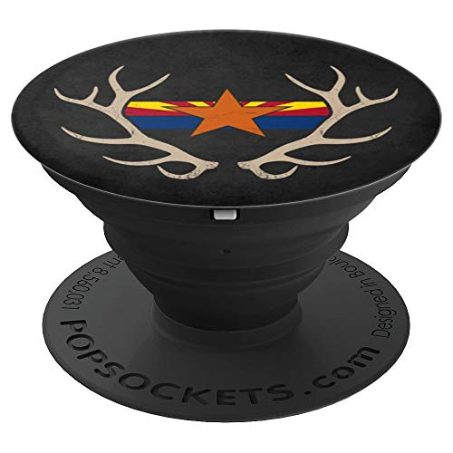 Arizona State Flag Elk Antler Rack Gift for Hunters - PopSockets Grip and Stand for Phones and Tablets