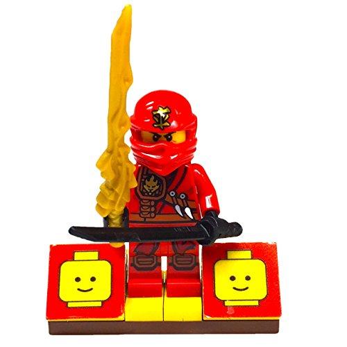 MinifigurePacks: Lego Ninjago Bundle (1) Blade Bike Kai Minifigure (1) Figure Display Base (2) Figure Accessory's (Sword of Fire and Shamshir (Lego Ninjago Jay Costume)