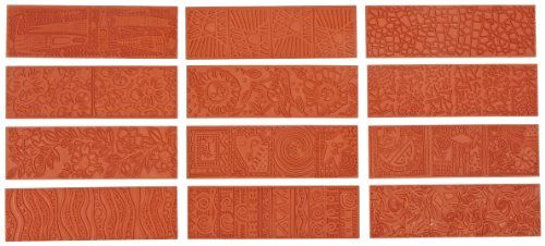 Plate Texture Clay Polymer - Sax Pattern Imprinting Mats, 2-1/8 x 6-7/8 Inches, Set of 12, Red, Red - 404865