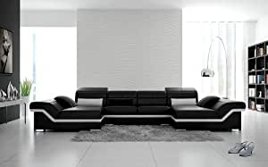 Modern Contemporary Sectional - Black & Snow White Italian Leather