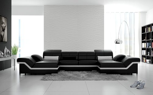 black and white modern furniture. Amazon.com: Modern Contemporary Sectional - Black \u0026 Snow White Italian Leather: Kitchen Dining And Furniture