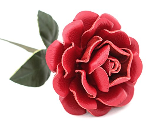 Small Long Stem Red Leather Rose, Handmade Third Wedding Anniversary Gift
