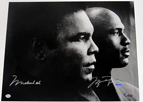 Muhammad Ali & Michael Jordan Dual Signed Sports Legends 16x20 Photo #/50 - UDA - Autographed NBA Photos
